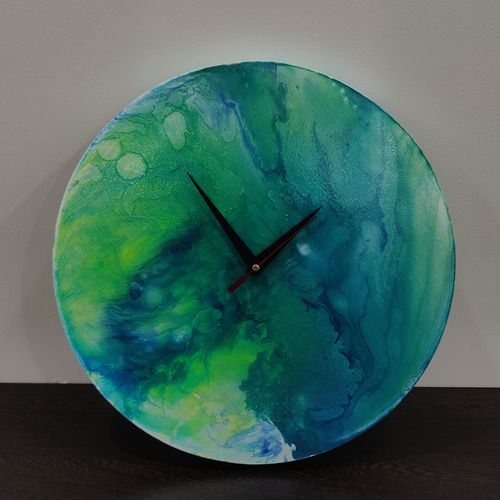 """""""the green abyss time piece"""", 12 x 12 inch, dr.sukanya thakur,12x12inch,canvas,handicrafts,wall hangings,acrylic color,mixed media,GAL01913530788"""