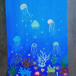 jelly fish, 8 x 12 inch, pooja kharpade,8x12inch,canson paper,nature paintings | scenery paintings,paintings for kids room,paintings for kids room,acrylic color,GAL01894130796