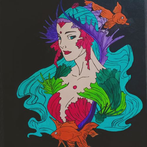 mermaid , 12 x 17 inch, pooja kharpade,12x17inch,brustro watercolor paper,paintings for living room,paintings for living room,acrylic color,GAL01894130797