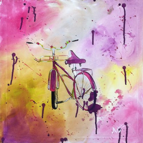 small cycle , 18 x 18 inch, rahul kumawat,abstract paintings,paintings for bedroom,canvas,acrylic color,18x18inch,GAL0126308
