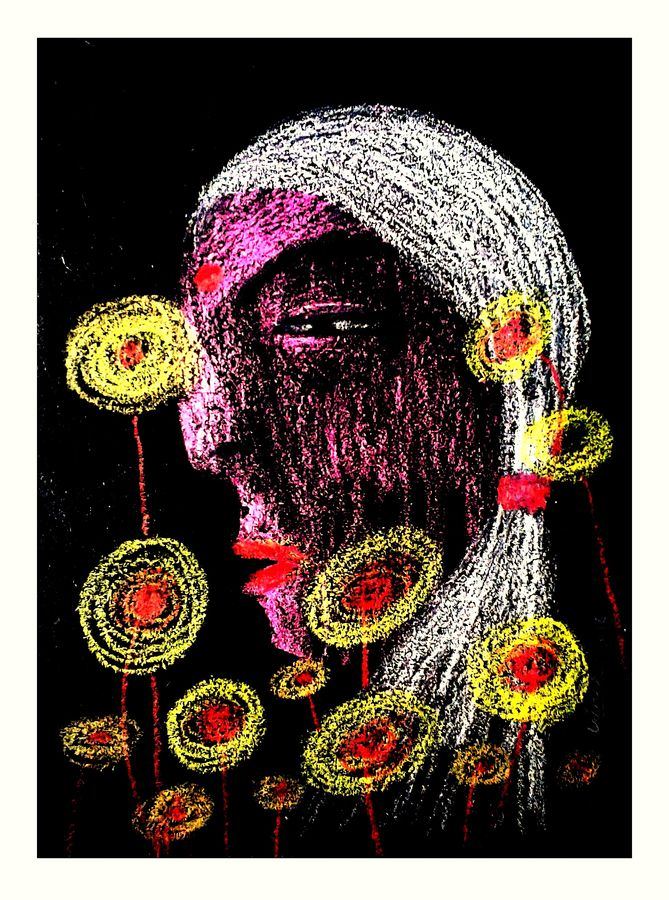 flower with girl , 14 x 11 inch, girish chandra vidyaratna,abstract paintings,paintings for bedroom,paintings,handmade paper,mixed media,14x11inch,GAL0363080