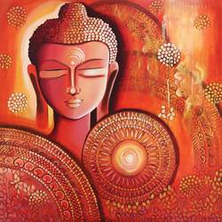 buddha - awakening consciousness, 30 x 30 inch, nitu chhajer,30x30inch,canvas,buddha paintings,paintings for dining room,paintings for living room,paintings for office,paintings for hotel,paintings for school,paintings for hospital,paintings for dining room,paintings for living room,paintings for office,paintings for hotel,paintings for school,paintings for hospital,acrylic color,GAL058230800