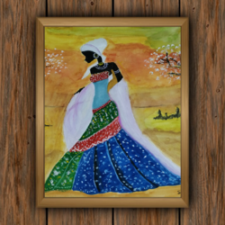 african folk girl, 14 x 16 inch, sharmila  dwibedy,14x16inch,thick paper,folk art paintings,modern art paintings,paintings for dining room,paintings for living room,paintings for bedroom,paintings for hotel,paintings for dining room,paintings for living room,paintings for bedroom,paintings for hotel,poster color,watercolor,GAL01919030806