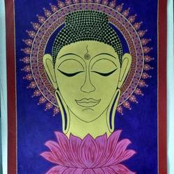 golden buddha, 22 x 30 inch, geeta kwatra,22x30inch,handmade paper,paintings,buddha paintings,paintings for living room,paintings for hotel,acrylic color,mixed media,GAL0899130810