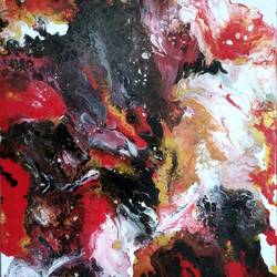 red is gorgeous, 18 x 24 inch, irene james,18x24inch,canvas,paintings,abstract paintings,acrylic color,GAL01101930813