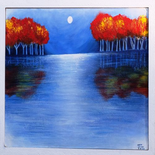 acrylic painting, 17 x 24 inch, snehalatha e c,17x24inch,canvas,abstract paintings,landscape paintings,nature paintings   scenery paintings,art deco paintings,paintings for living room,paintings for bedroom,paintings for office,paintings for living room,paintings for bedroom,paintings for office,acrylic color,GAL01925830816