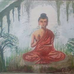 buddha meditation, 16 x 11 inch, satyabrata parhi,buddha paintings,paintings for living room,religious paintings,paintings for office,renaissance watercolor paper,watercolor,16x11inch,religious,peace,meditation,meditating,gautam,goutam,buddha,sitting,mudra,giving blessing,GAL011633082