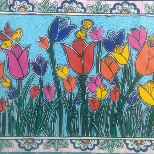 spring with tulips, 16 x 12 inch, akanksha sinha,16x12inch,canvas,paintings,flower paintings,folk art paintings,nature paintings | scenery paintings,paintings for dining room,paintings for living room,paintings for bedroom,paintings for office,paintings for kids room,paintings for hotel,paintings for school,paintings for hospital,acrylic color,pen color,GAL01104130821