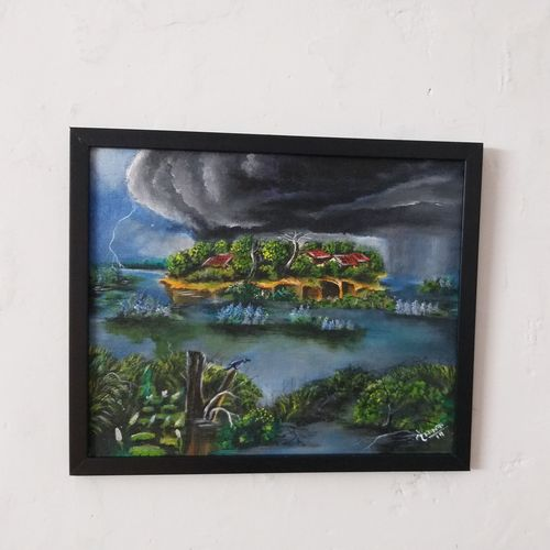 clouds over the village , 12 x 10 inch, mainak  chakrabortty ,12x10inch,canvas board,paintings,landscape paintings,nature paintings | scenery paintings,realistic paintings,paintings for dining room,paintings for living room,paintings for bedroom,paintings for office,paintings for kids room,paintings for hotel,paintings for kitchen,paintings for school,paintings for hospital,acrylic color,GAL01923330827