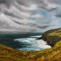 the cliff of ireland , 16 x 14 inch, sayak banerjee,16x14inch,canvas,landscape paintings,paintings for living room,paintings for bedroom,paintings for living room,paintings for bedroom,oil color,GAL01926330829