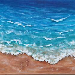 footprints in the sand beach acrylic painting, 12 x 10 inch, mrinalini shingal,12x10inch,canvas,paintings,landscape paintings,nature paintings | scenery paintings,paintings for living room,paintings for bedroom,paintings for office,paintings for hotel,acrylic color,GAL01898330833