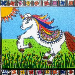 unicorn, 16 x 14 inch, akanksha sinha,16x14inch,canvas,paintings,wildlife paintings,folk art paintings,horse paintings,kids paintings,madhubani paintings | madhubani art,paintings for living room,paintings for kids room,paintings for hotel,paintings for school,acrylic color,pen color,GAL01104130834