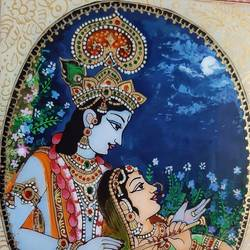 radha krishna , 11 x 12 inch, swaroop  venkataraman,11x12inch,acrylic glass,paintings,figurative paintings,radha krishna paintings,phad painting,paintings for dining room,paintings for living room,paintings for bedroom,paintings for office,paintings for hotel,acrylic color,GAL01926630840