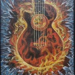 guitar acrylic painting, 10 x 12 inch, mrinalini shingal,10x12inch,canvas board,paintings,paintings for kids room,paintings for school,paintings for hospital,acrylic color,GAL01898330873