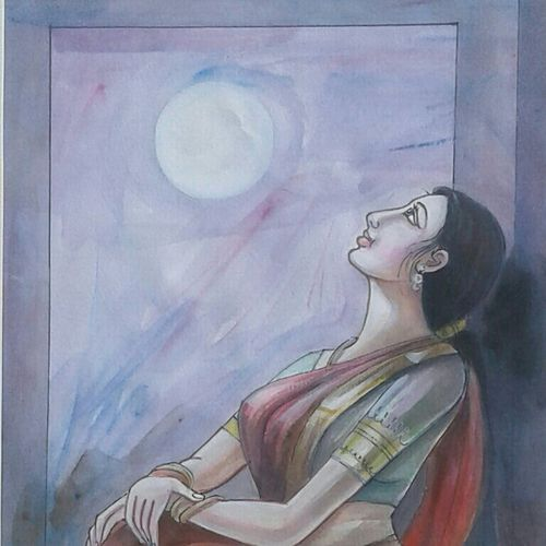 the moon, 8 x 11 inch, sujitha artgallery,8x11inch,thick paper,drawings,conceptual drawings,paintings for living room,watercolor,GAL049630879