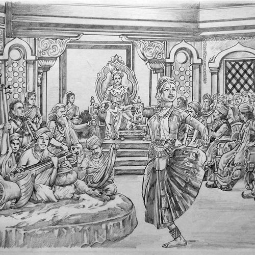 dancer, 16 x 11 inch, kanna achariya,16x11inch,paper,drawings,conceptual drawings,figurative drawings,fine art drawings,folk drawings,illustration drawings,portrait drawings,paintings for dining room,paintings for living room,paintings for office,paintings for hotel,paintings for school,paintings for hospital,pencil color,graphite pencil,GAL01926430888
