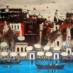 live on banaras ghat, 16 x 12 inch, girish chandra vidyaratna,16x12inch,brustro watercolor paper,paintings,figurative paintings,landscape paintings,modern art paintings,religious paintings,contemporary paintings,love paintings,lord shiva paintings,miniature painting.,paintings for living room,paintings for bedroom,acrylic color,GAL03630889