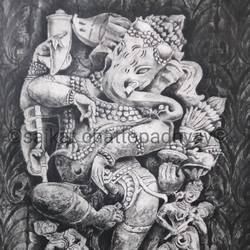the dancing ganesha, 18 x 24 inch, saikat chattopadhyay,18x24inch,paper,paintings,ganesha paintings | lord ganesh paintings,paintings for dining room,paintings for living room,paintings for bedroom,charcoal,GAL01931730898