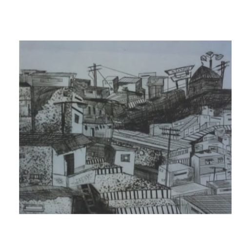 slum , 14 x 14 inch, omkar vankar,14x14inch,handmade paper,paintings,cityscape paintings,paintings for dining room,paintings for living room,paintings for bedroom,paintings for office,paintings for kids room,paintings for hotel,paintings for school,ink color,paper,GAL01906430903