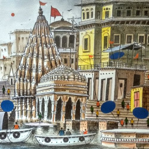 the kashi karvat temple ( banaras ghat ), 12 x 12 inch, girish chandra vidyaratna,12x12inch,brustro watercolor paper,paintings,figurative paintings,cityscape paintings,landscape paintings,modern art paintings,religious paintings,art deco paintings,contemporary paintings,love paintings,miniature painting.,paintings for living room,acrylic color,mixed media,watercolor,GAL03630908