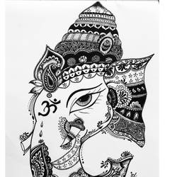 madhubani ganesh painting, 8 x 11 inch, tan guj,8x11inch,drawing paper,drawings,paintings for living room,paintings for hotel,fine art drawings,ganesha drawings,paintings for living room,paintings for hotel,pen color,ball point pen,paper,GAL01932530911