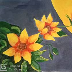 3 flowers in a row, 17 x 12 inch, abhik mahanti,17x12inch,canvas,paintings,flower paintings,landscape paintings,nature paintings | scenery paintings,acrylic color,GAL0404430914