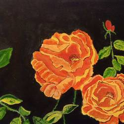 the roses, 16 x 15 inch, abhik mahanti,16x15inch,canvas,paintings,flower paintings,nature paintings | scenery paintings,acrylic color,GAL0404430915
