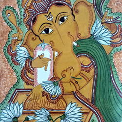 ganesha, 15 x 17 inch, meera sandeep,15x17inch,canvas,paintings,ganesha paintings | lord ganesh paintings,paintings for living room,acrylic color,GAL01869230921