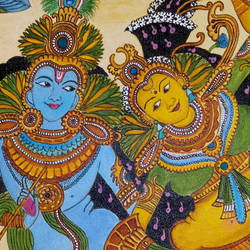 radha krishna, 15 x 19 inch, meera sandeep,15x19inch,canvas,paintings,radha krishna paintings,kerala murals painting,paintings for living room,paintings for bedroom,acrylic color,GAL01869230922