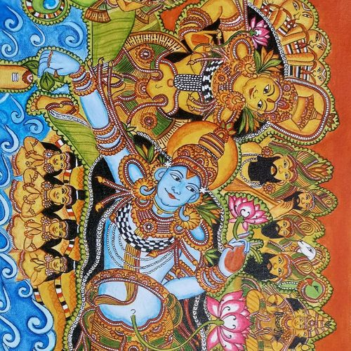 ananthashayanam, 16 x 28 inch, meera sandeep,16x28inch,canvas,paintings,kerala murals painting,paintings for living room,paintings for hotel,acrylic color,GAL01869230923