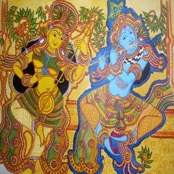 radha krishna, 22 x 28 inch, meera sandeep,22x28inch,canvas,paintings,radha krishna paintings,kerala murals painting,acrylic color,GAL01869230924