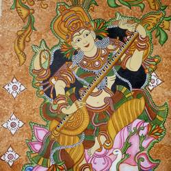 saraswati, 24 x 36 inch, meera sandeep,24x36inch,canvas,paintings,kerala murals painting,paintings for living room,paintings for kids room,acrylic color,GAL01869230925