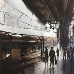 rail station, 8 x 11 inch, shankhadeep  mondal,8x11inch,handmade paper,paintings,conceptual paintings,paintings for dining room,paintings for living room,paintings for bedroom,paintings for office,paintings for bathroom,paintings for kids room,paintings for hotel,paintings for kitchen,paintings for school,paintings for hospital,watercolor,GAL01403030929