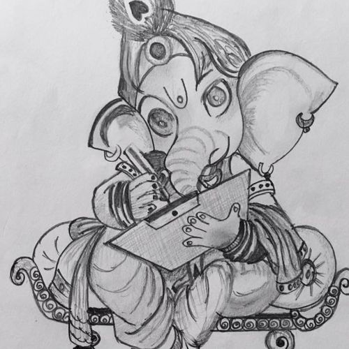 bal ganesha, 8 x 11 inch, tan guj,8x11inch,drawing paper,drawings,ganesha drawings,paintings for dining room,paintings for living room,paintings for bedroom,paintings for office,paintings for kids room,paintings for hotel,paintings for kitchen,paintings for school,paintings for hospital,pencil color,paper,GAL01932530942