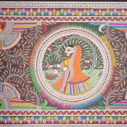 navrang madhubani , 15 x 22 inch, meenakshi  karanwal,15x22inch,handmade paper,paintings,madhubani paintings | madhubani art,paintings for dining room,paintings for living room,paintings for bedroom,paintings for office,paintings for bathroom,paintings for hotel,paintings for hospital,poster color,GAL01835830950
