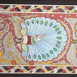 peacock madhubani painting, 10 x 22 inch, meenakshi  karanwal,10x22inch,handmade paper,paintings,madhubani paintings | madhubani art,paintings for dining room,paintings for living room,paintings for bedroom,paintings for office,paintings for hotel,paintings for school,paintings for hospital,poster color,GAL01835830951