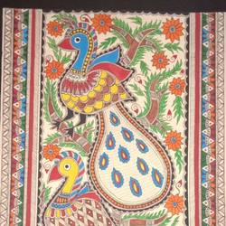 peacock painting, 11 x 15 inch, meenakshi  karanwal,11x15inch,handmade paper,paintings,madhubani paintings | madhubani art,paintings for dining room,paintings for living room,paintings for bedroom,paintings for office,paintings for hotel,paintings for school,paintings for hospital,poster color,GAL01835830953