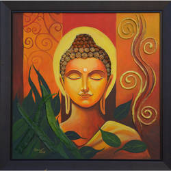 buddha, 24 x 24 inch, sankar c,24x24inch,canvas,paintings,buddha paintings,paintings for dining room,paintings for living room,paintings for office,paintings for hotel,paintings for school,acrylic color,GAL01935030954