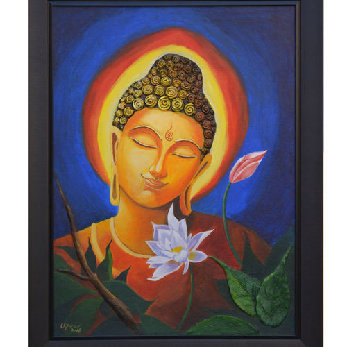 buddha with flower, 24 x 18 inch, sankar c,24x18inch,canvas board,buddha paintings,paintings for dining room,paintings for living room,paintings for bedroom,paintings for office,paintings for kids room,paintings for hotel,paintings for kitchen,paintings for school,paintings for hospital,paintings for dining room,paintings for living room,paintings for bedroom,paintings for office,paintings for kids room,paintings for hotel,paintings for kitchen,paintings for school,paintings for hospital,acrylic color,GAL01935030956