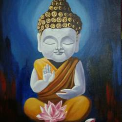 child buddha , 24 x 36 inch, sankar c,24x36inch,canvas,paintings,buddha paintings,paintings for dining room,paintings for living room,paintings for bedroom,paintings for office,paintings for kids room,paintings for hotel,paintings for kitchen,paintings for school,paintings for hospital,acrylic color,GAL01935030957