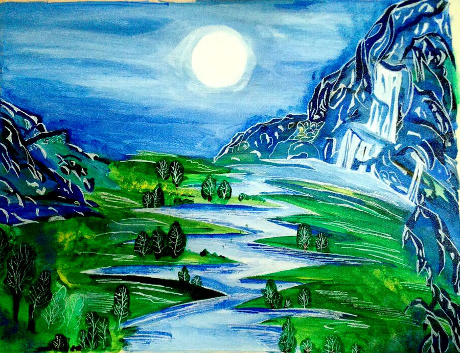 moon scenery, 18 x 14 inch, pooja italia,landscape paintings,paintings for living room,nature paintings,paintings for office,paintings,cityscape paintings,illustration paintings,paintings for dining room,paintings for bedroom,canvas,acrylic color,18x14inch,GAL09613096Nature,environment,Beauty,scenery,greenery