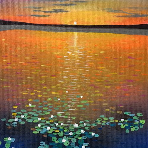 water lily pond at sunset , 7 x 10 inch, amita dand,7x10inch,paper,paintings,surrealism paintings,paintings for dining room,paintings for living room,paintings for bedroom,paintings for office,paintings for hotel,paintings for hospital,acrylic color,GAL0146730960