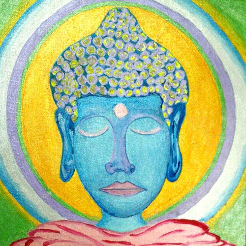 buddha painting, 12 x 12 inch, pooja italia,buddha paintings,paintings for living room,religious paintings,paintings for office,paintings,abstract paintings,paintings for dining room,paintings for bedroom,paintings for hotel,paintings for hospital,canvas board,acrylic color,12x12inch,religious,peace,meditation,meditating,gautam,goutam,buddha,lord,blue,face,GAL09613097