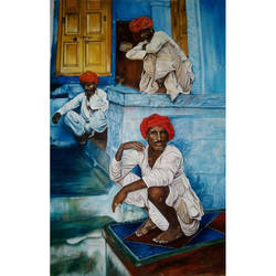 village scene, 22 x 31 inch, nidhi agrawal,22x31inch,cloth,paintings,figurative paintings,paintings for dining room,paintings for living room,paintings for bedroom,paintings for kids room,paintings for hotel,paintings for school,poster color,GAL01931530976