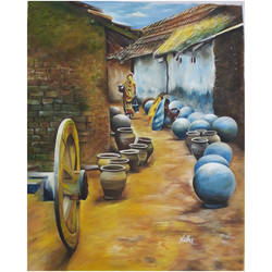 village scene, 16 x 19 inch, nidhi agrawal,16x19inch,cloth,paintings,landscape paintings,nature paintings | scenery paintings,paintings for dining room,paintings for living room,paintings for bedroom,paintings for office,paintings for kids room,paintings for hotel,paintings for kitchen,paintings for school,poster color,GAL01931530977