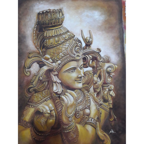 lord krishna, 20 x 27 inch, nidhi agrawal,20x27inch,cloth,paintings,religious paintings,portrait paintings,radha krishna paintings,paintings for dining room,paintings for living room,paintings for bedroom,paintings for office,paintings for kids room,paintings for hotel,paintings for school,paintings for hospital,mixed media,GAL01931530986