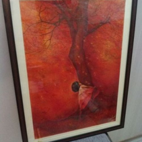child hood, 24 x 30 inch, saikat santra,24x30inch,handmade paper,paintings,figurative paintings,children paintings,paintings for living room,paintings for office,paintings for hotel,pastel color,pencil color,watercolor,GAL01938330999