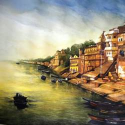 godhuli at banaras, 30 x 24 inch, saikat santra,30x24inch,handmade paper,paintings,landscape paintings,paintings for living room,paintings for office,paintings for hotel,paintings for hospital,pastel color,pencil color,watercolor,GAL01938331001