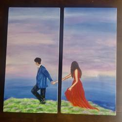 take me away, 24 x 48 inch, preetha nair,24x48inch,canvas,paintings,conceptual paintings,love paintings,paintings for living room,paintings for bedroom,acrylic color,GAL01938531003