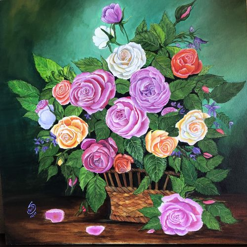 august, 24 x 24 inch, preetha nair,24x24inch,canvas,paintings,flower paintings,still life paintings,paintings for dining room,paintings for living room,paintings for bedroom,paintings for hotel,paintings for school,paintings for hospital,acrylic color,GAL01938531004